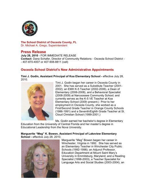 Press Release - Osceola County School District
