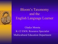 BLOOM'S TAXONOMY AND THE ENGLISH LANGUAGE LEARNER ...