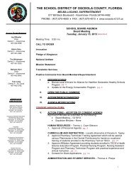 facilities consent agenda - Osceola County School District