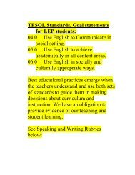 TESOL Standards. Goal statements for LEP students: 04.0 Use ...
