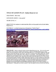 TITLE OF LESSON PLAN: Indian Removal Act