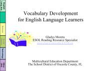 Vocabulary Development for English Language Learners