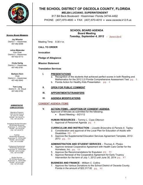 Distrito Escolar del - Osceola County School District