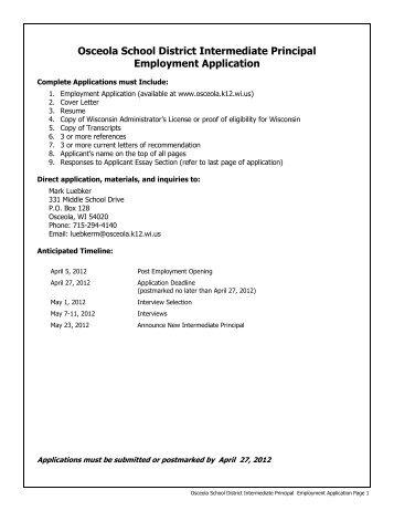 Osceola School District Intermediate Principal Employment Application