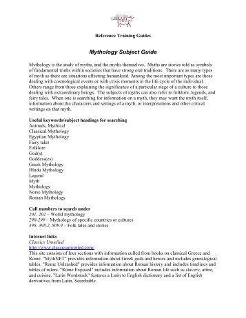 Mythology Subject Guide - Osceola Library System