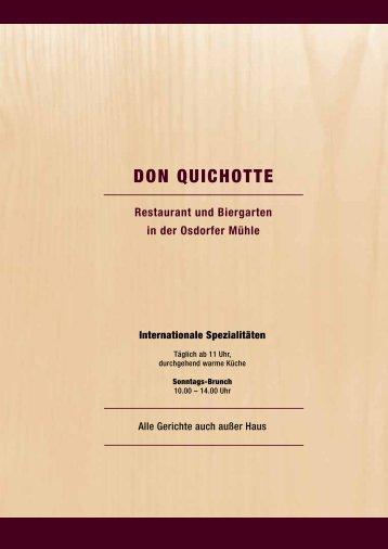 Speisekarte - Don Quichotte