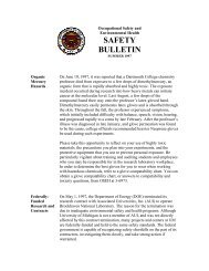 Safety Bulletin - Summer 1997 - OSEH - University of Michigan