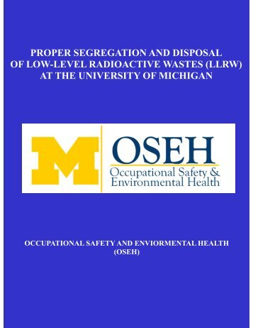 proper segregation and disposal of low-level radioactive wastes (llrw)