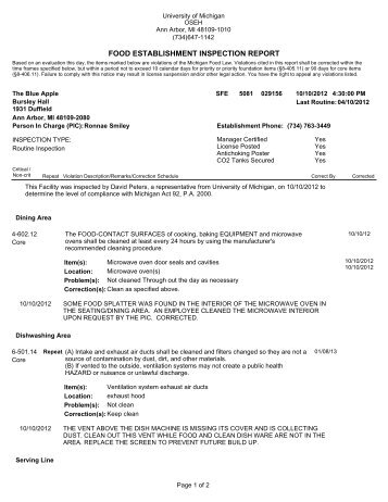 food establishment inspection report - OSEH - University of Michigan