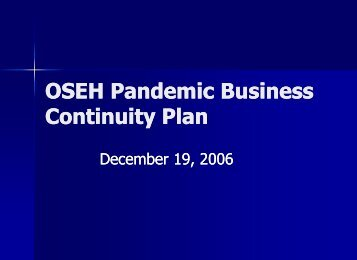 OSEH Pandemic Business Continuity Plan
