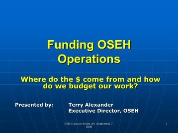 Funding OSEH Operations - OSEH - University of Michigan