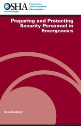 Preparing and Protecting Security Personnel in Emergencies - OSHA