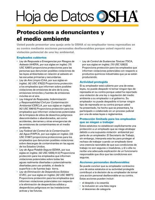 Protecciones a denunciantes y el medio ambiente, Hoja de ... - OSHA