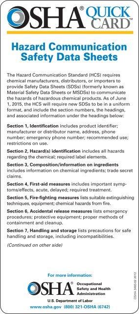 Safety Data Sheets Osha