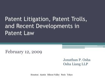 Patent Litigation 101 - Osha Liang LLP