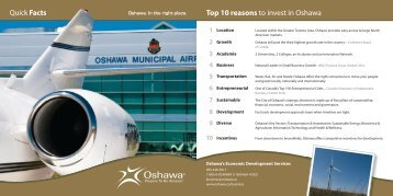 Top 10 reasons to invest in Oshawa Quick Facts - City of Oshawa