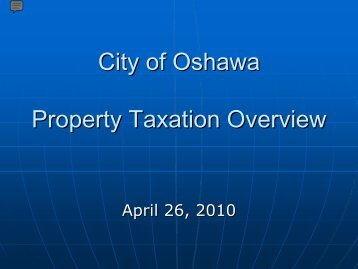 Prooperty Taxation - City of Oshawa