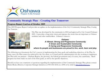 Community Strategic Plan – Creating Our Tomorrow - City of Oshawa