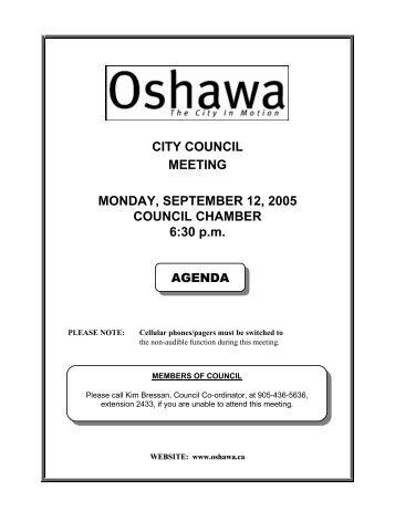 CITY COUNCIL MEETING MONDAY, SEPTEMBER ... - City of Oshawa