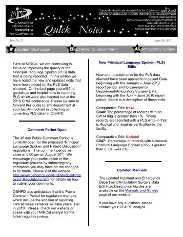 Issue 23 - Office of Statewide Health Planning and Development
