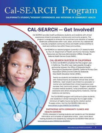 CAL-SEARCH - Office of Statewide Health Planning and Development