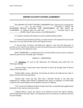 Deposit Account Control Agreement