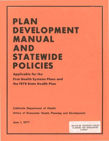 1977 Plan Development Manual and Statewide Policies - Office of ...