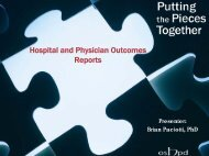 Hospital and Physician Outcomes Reports