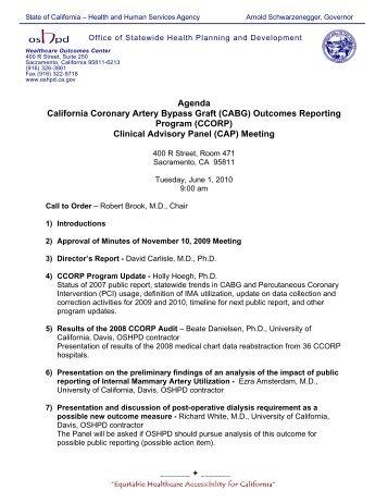 Agenda - Office of Statewide Health Planning and Development ...