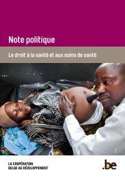 Note politique 'Le droit à la santé et aux soins de santé' - Belgium