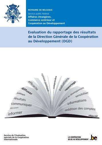 Evaluation du rapportage des résultats de la Direction Générale de ...