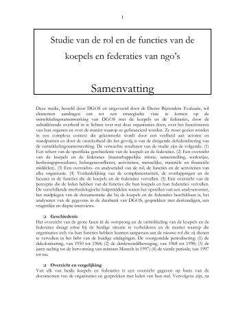Studie van de rol en de functies van de koepels en federaties van ...