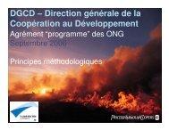 Principes méthodologiques de l'agrément programme des ONG