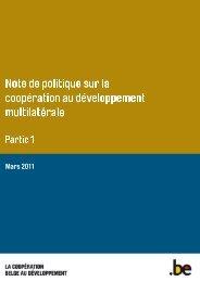 Note de politique sur la coopération au développement ... - Belgium