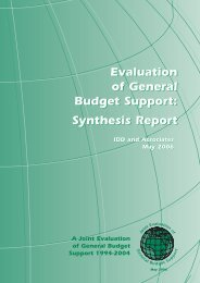 Evaluation of General Budget Support: Synthesis Report - Belgium