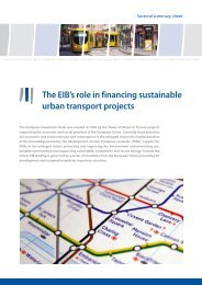 The EIB's role in financing sustainable urban transport projects