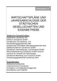 wirtschaftspläne und jahresabschlüsse der ... - Stadt Osnabrück
