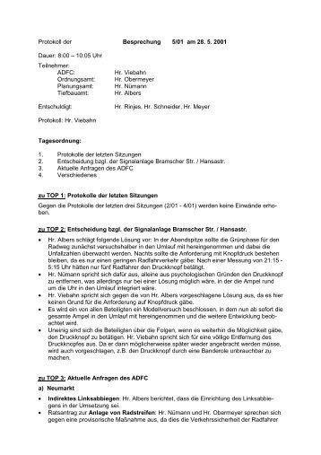 Protokoll der Sitzung 01/5 vom 28. Mai 2001