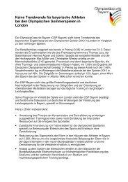 Olympiaauswertung 2012 aus bayerischer Sicht