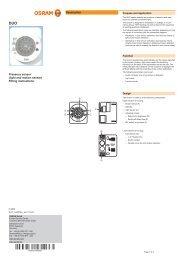 Presence sensor (light and motion sensor) Fitting ... - Osram