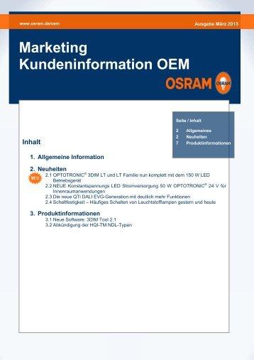 Marketing Kundeninformation OEM März 2013 - Osram