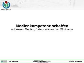 Medienkompetenz schaffen mit neuen Medien, freiem Wissen und ...
