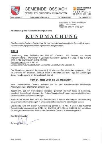 KUNDMACHUNG - Ossiach