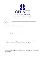 Pastor's Recommendation Form - Oblate School of Theology
