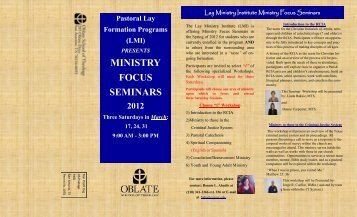 MINISTRY FOCUS SEMINARS - Oblate School of Theology