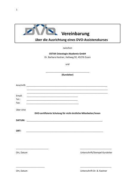 Vereinbarung Assistenzkurs - DVO