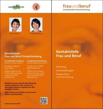 Flyer der Kontaktstelle Frau und Beruf - Ostalbkreis