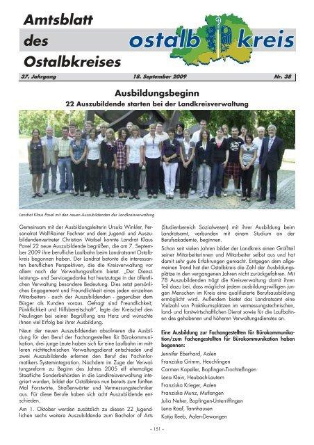 Amtsblatt von KW 38/2009 (116.8 KB application/pdf) - Ostalbkreis