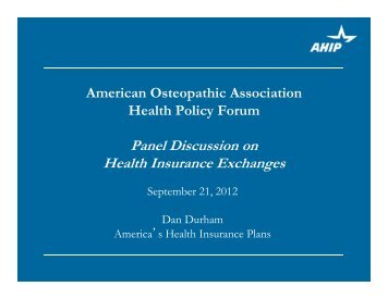 Panel Discussion on Health Insurance Exchanges - American ...