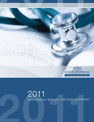 2011 Osteopathic Medical Profession Report - American ...